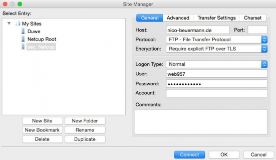 Screenshot of filezilla's server manager